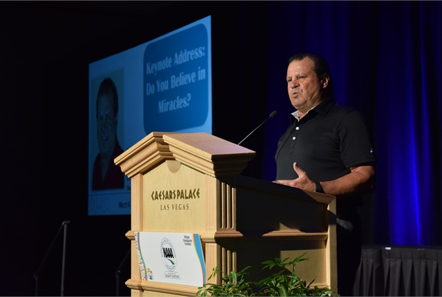 """Mike Eruzione, the captain of the """"Miracle on Ice"""" Olympic Gold Medal Hockey Team, during his keynote presentation."""