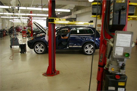 Vehicles get front-line ready at VW Credit & Audi Technical Operations Center.