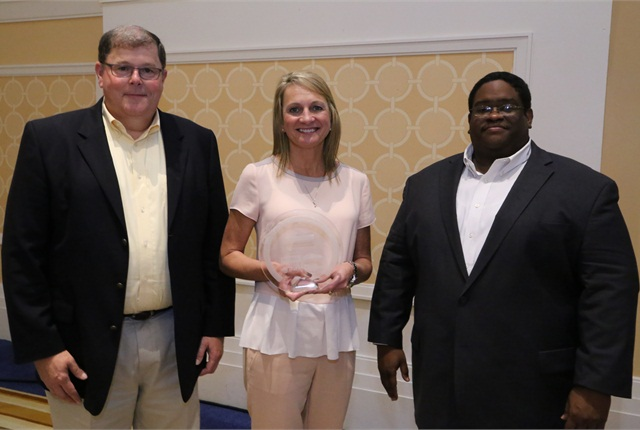 (L-R) Keith Mask, AVP for environmental sustainability, Cox Enterprises; Julie Picard, Manheim Pennsylvania vice president and general manager; and Huiet Joseph, senior manager of energy conservation, Cox Enterprises.