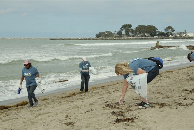 More than 200 Cox Enterprises employees from its Manheim, AutoTrader.com, Kelley Blue Book, and Cox Communications  properties volunteered for a shore cleanup at Doheny State Beach in Dana Point, Calif. and removed nearly 650 pounds of trash. (PHOTO: COX ENTERPRISES)