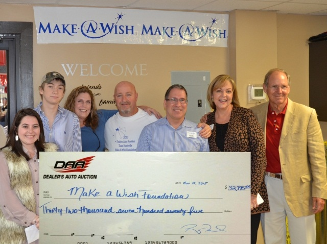 Pictured Left to Right: Ashley Miller (Make a Wish Foundation), Ian Thompson (Recipient), Sheila Thompson (Ian's Mom), Roger Fields (DAA Huntsville GM), Steve Marz (Make A Wish Board Member), Pam Jones (Make A Wish CEO/President), David Andrews (CEO/Owner City Enterprises/Dealers Auto Auction)