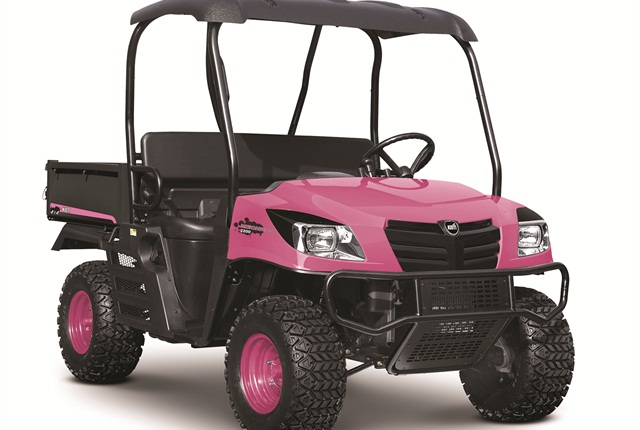 The UTV is equipped with standard four-wheel drive and a fuel efficient 22 hp, three-cylinder, Daedong diesel engine.
